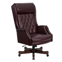 Leather Swivel Office Chair in Burgundy