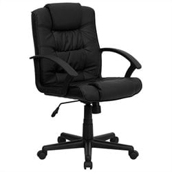 Mid Back Black Leather Office Chair
