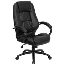High Back Leather Executive Office Chair in Black