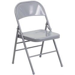Metal Folding Chair in Gray
