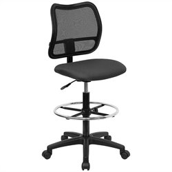 Mid Back Mesh Drafting Chair with Gray Fabric Seat