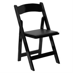 Wood Folding Chair in Black