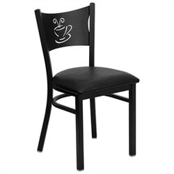 Coffee Back Metal Dining Chair in Black