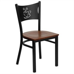 Black Back Metal Dining Chair in Cherry