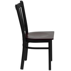 Black Back Metal Dining Chair in Mahogany