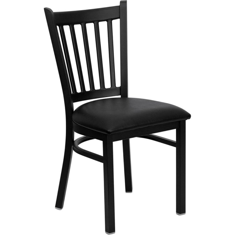 Vertical Back Metal Dining Chair in Black