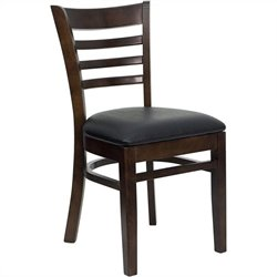 Ladder Back Dining Chair with Black Seat