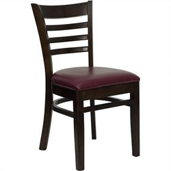 Ladder Back Dining Chair with Burgundy Seat