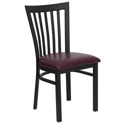 Black Back Metal Dining Chair in Burgundy