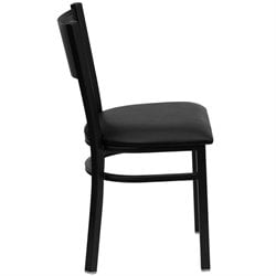 Metal Dining Chair in Black Vinyl