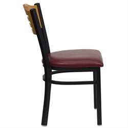 Black Slat Back Dining Chair in Burgundy