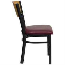 Black Metal Dining Chair with Burgundy Seat