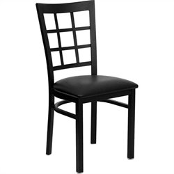 Window Back Metal Dining Chair in Black