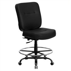 Flash Furniture Hercules Leather Drafting Chair in Black