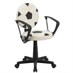 Task Office Chair with Arms in Black and White