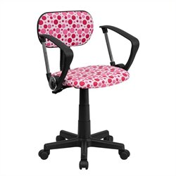 Pink Dot Printed Computer Office Chair with Arms in White