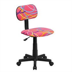 Multi-Colored Swirl Printed Pink Computer Office Chair
