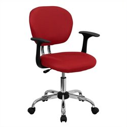 Mid-Back Mesh Task Office Chair with Arms in Red