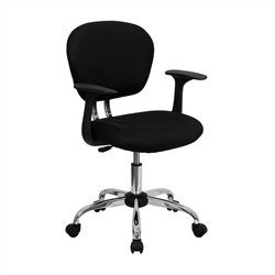 Mid-Back Mesh Task Office Chair with Arms in Black