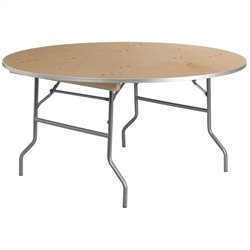 Round Birchwood Folding Banquet Table in Silver