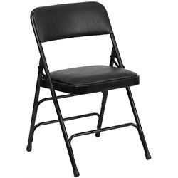 Upholstered Metal Folding Chair in Black
