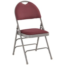 Metal Folding Chair in Burgundy