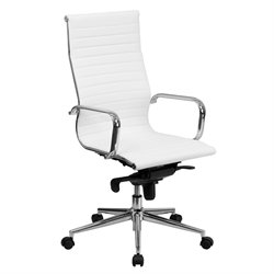 High Back Ribbed Leather Office Chair in White