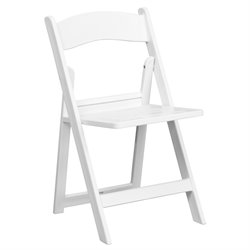 Folding Chair with Slatted Seat in White
