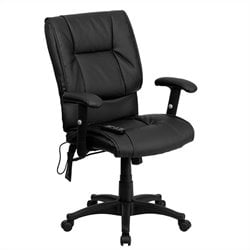 Massaging Leather Executive Office Chair in Black