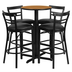 5 Piece Round Laminate Table Set in Natural and Black