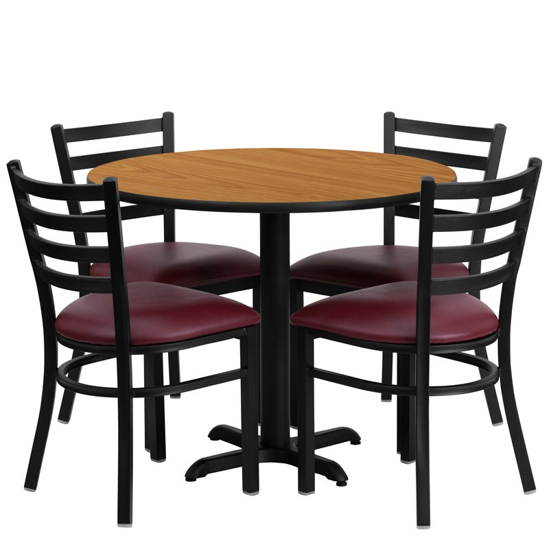5 Piece Laminate Table Set Natural and Burgundy