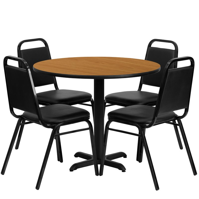5 Piece Laminate Table Set in Black and Natural
