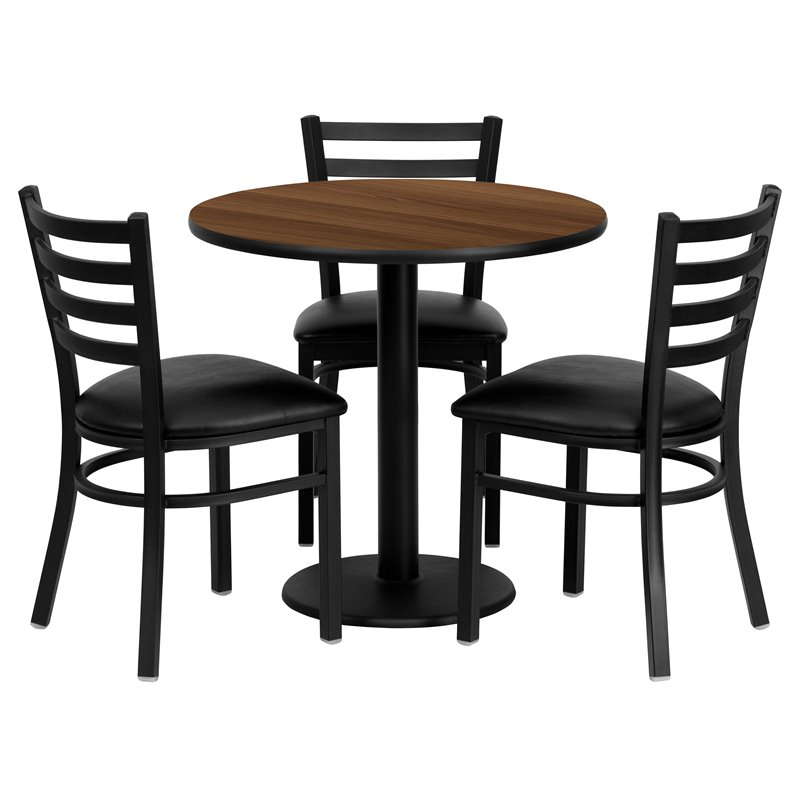4 Piece Round Laminate Table Set in Walnut and Black