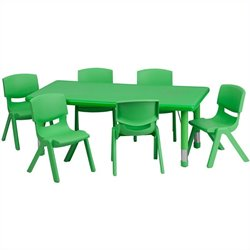 7 Piece Rectangular Activity Table Set in Green