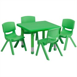 5 Piece Square Adjustable Activity Table Set in Green