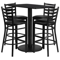 5 Piece Rectangular Laminate Table Set in Black