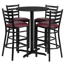 5 Piece Round Table Set in Black and Burgundy
