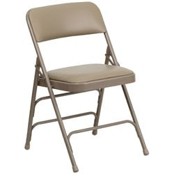 Upholstered Metal Folding Chair in Beige