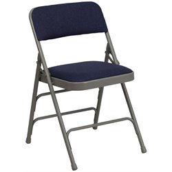 Upholstered Metal Folding Chair in Navy