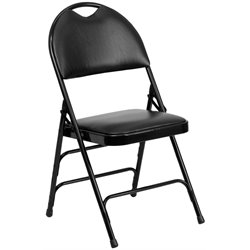 Metal Folding Chair in Black