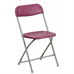 Plastic Folding Chair in Burgundy