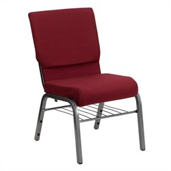 Flash Furniture Hercules Church Guest Chair with Rack in Burgundy