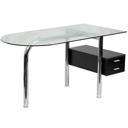 Glass Computer Desk in Black