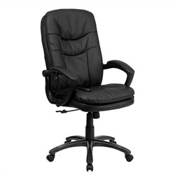 Mid-Back Massaging Leather Office Chair in Black