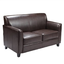 Flash Furniture Hercules Diplomat Leather Loveseat in Brown