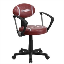 Football Task Office Chair with Arms in Brown and Black