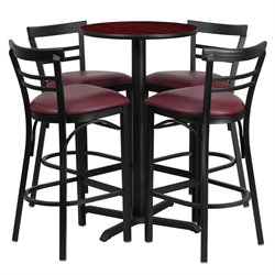 5 Piece Round Table Set in Mahogany and Black