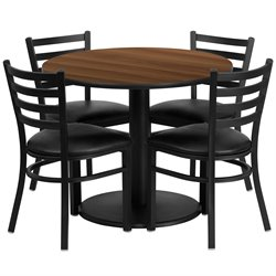 5 Piece Restaurant Dining Set in Black and Walnut