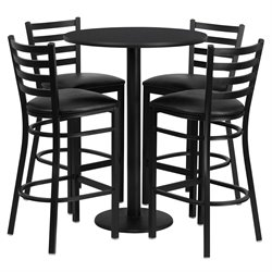 5 Piece Round Laminate Table Set in Black