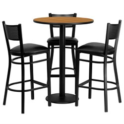 4 Piece Round Laminate Table Set in Natural and Black